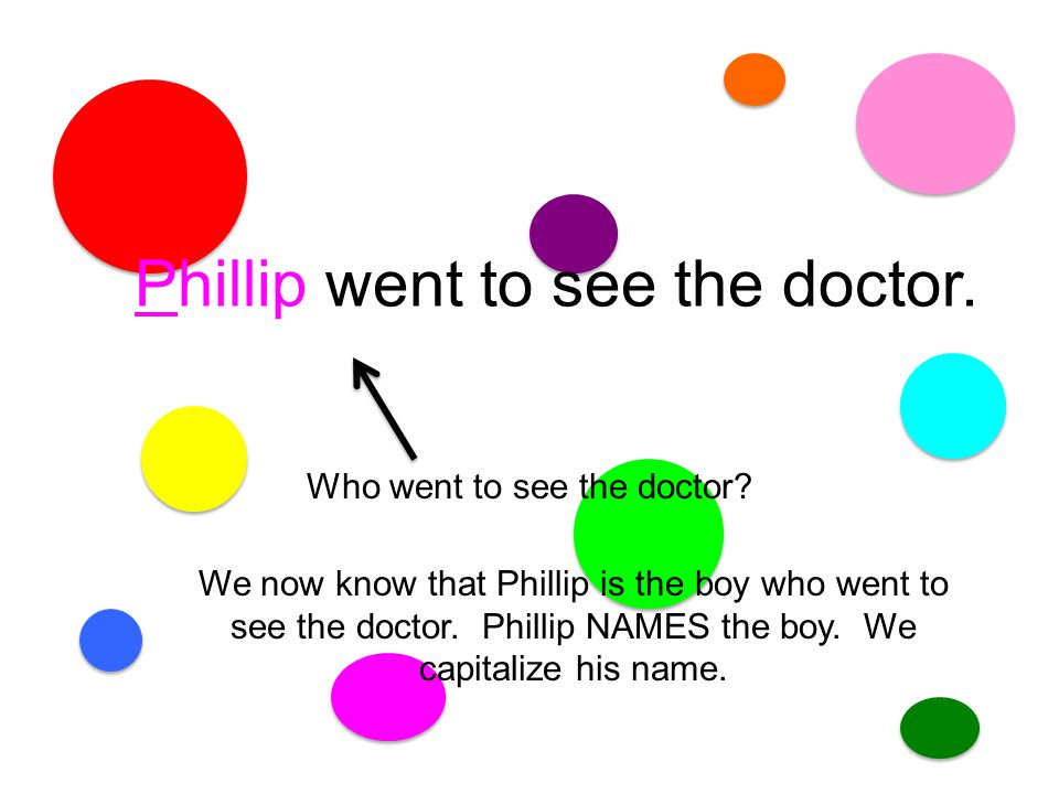 The boy went to see the doctor. boy is a Common Noun. If we put Phillip's name in for boy, we have named the boy.