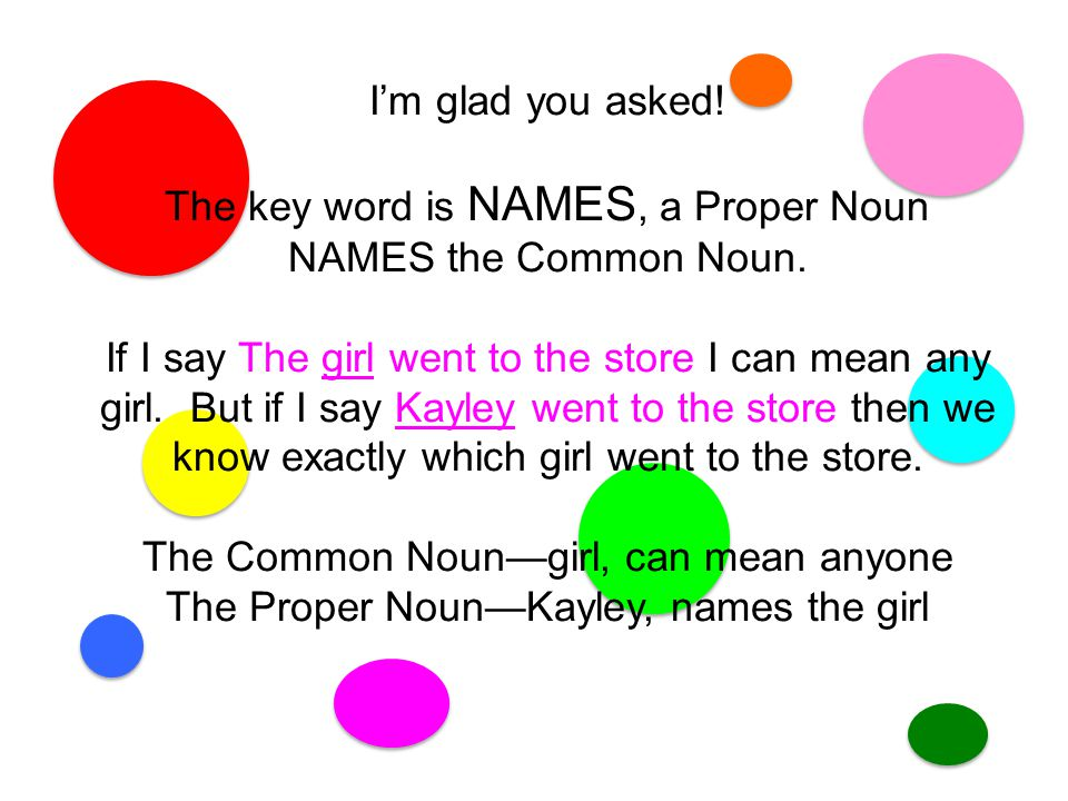 I'm glad you asked.The key word is NAMES, a Proper Noun NAMES the Common Noun.