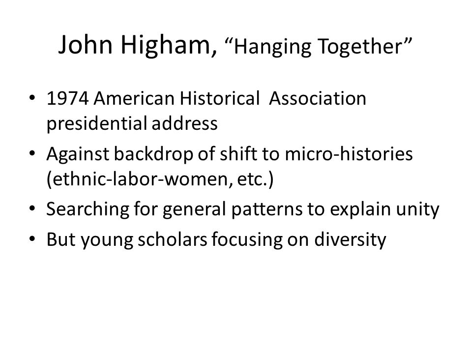 THE (DIS)INTEGRATION OF US HISTORY?