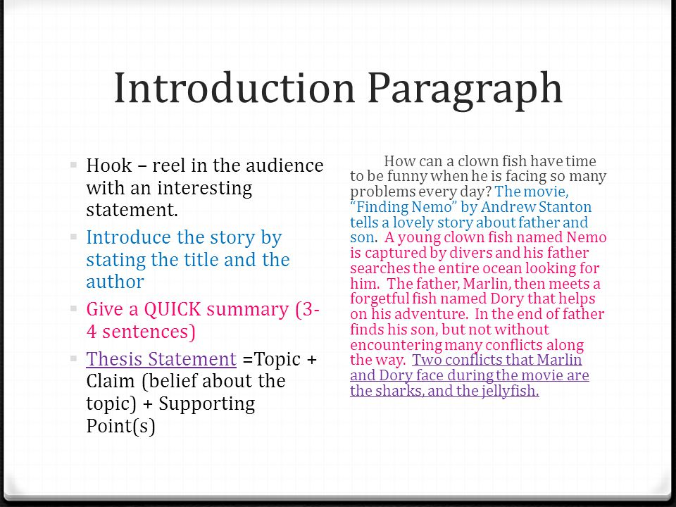 Introduction Paragraph  Hook – reel in the audience with an interesting statement.  Introduce the story by stating the title and the author  Give a