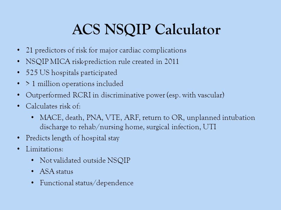 ACS NSQIP Calculator 21 predictors of risk for major cardiac complications NSQIP MICA risk-prediction rule created in 2011 525 US hospitals participat