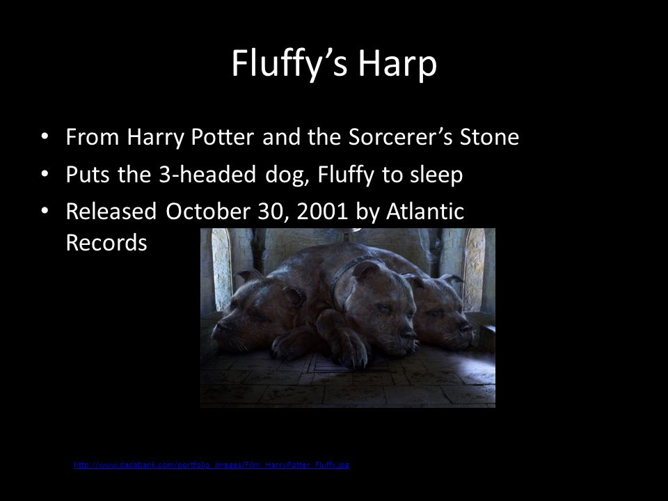 Fluffy's Harp From Harry Potter and the Sorcerer's Stone Puts the 3-headed dog, Fluffy to sleep Released October 30, 2001 by Atlantic Records http://w