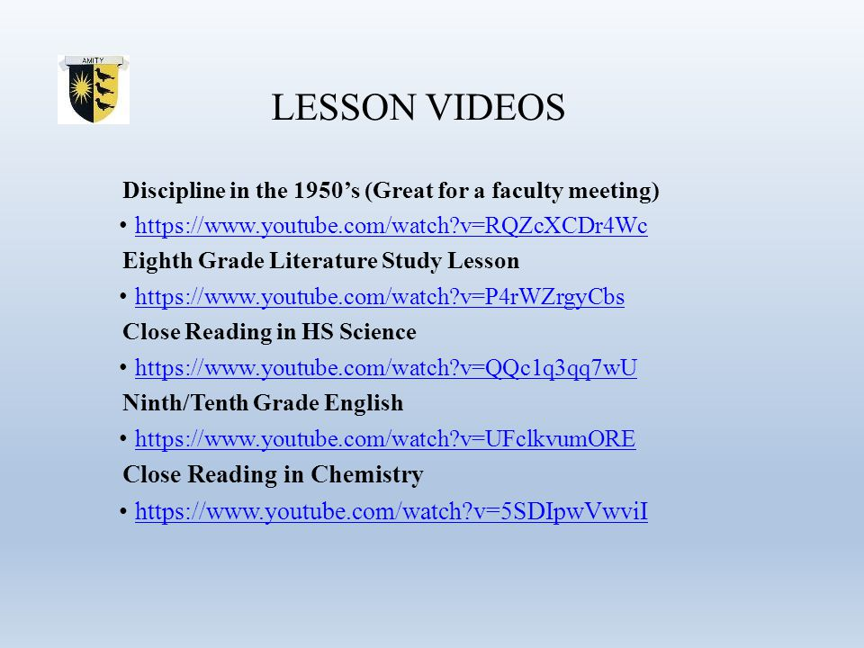 LESSON VIDEOS Discipline in the 1950's (Great for a faculty meeting) https://www.youtube.com/watch?v=RQZcXCDr4Wc Eighth Grade Literature Study Lesson
