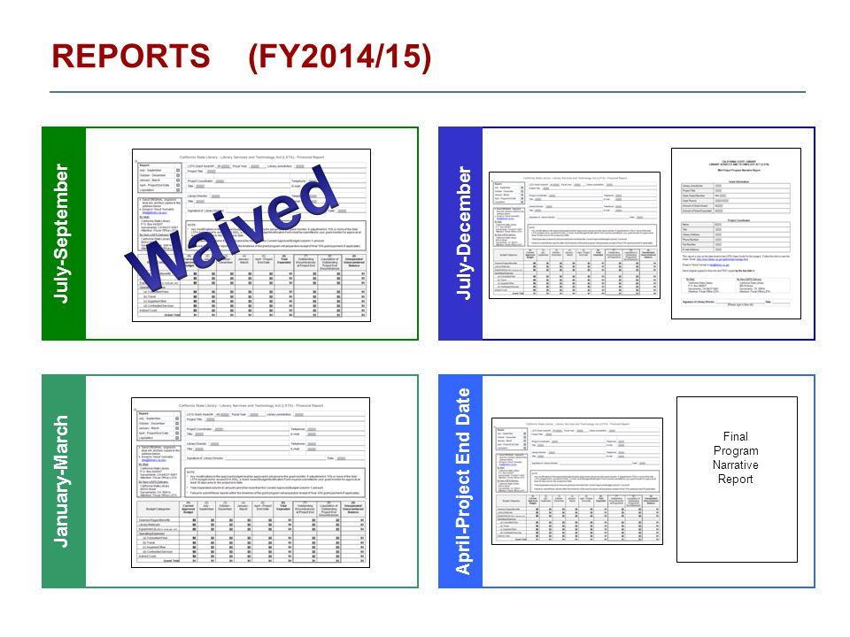 REPORTS (FY2014/15) July-SeptemberJuly-December January-March April-Project End Date Final Program Narrative Report
