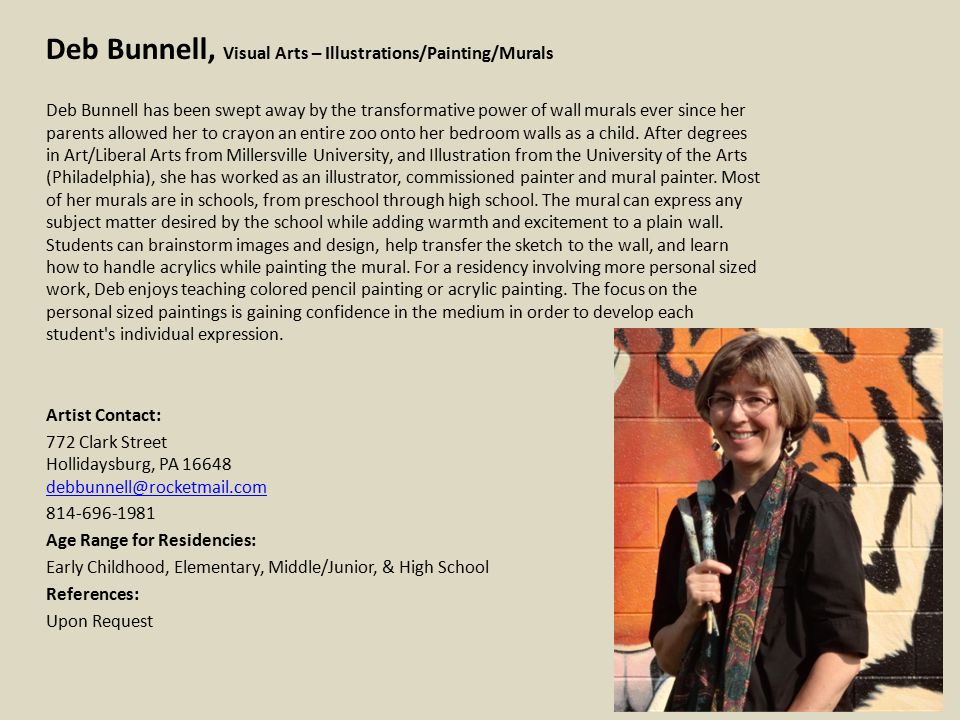 Melissa Davenport, Visual Arts – Metalsmith I believe that anyone can create art, regardless of any physical, mental or social barriers.