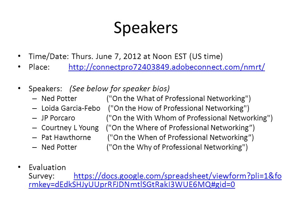 Speakers Time/Date: Thurs.