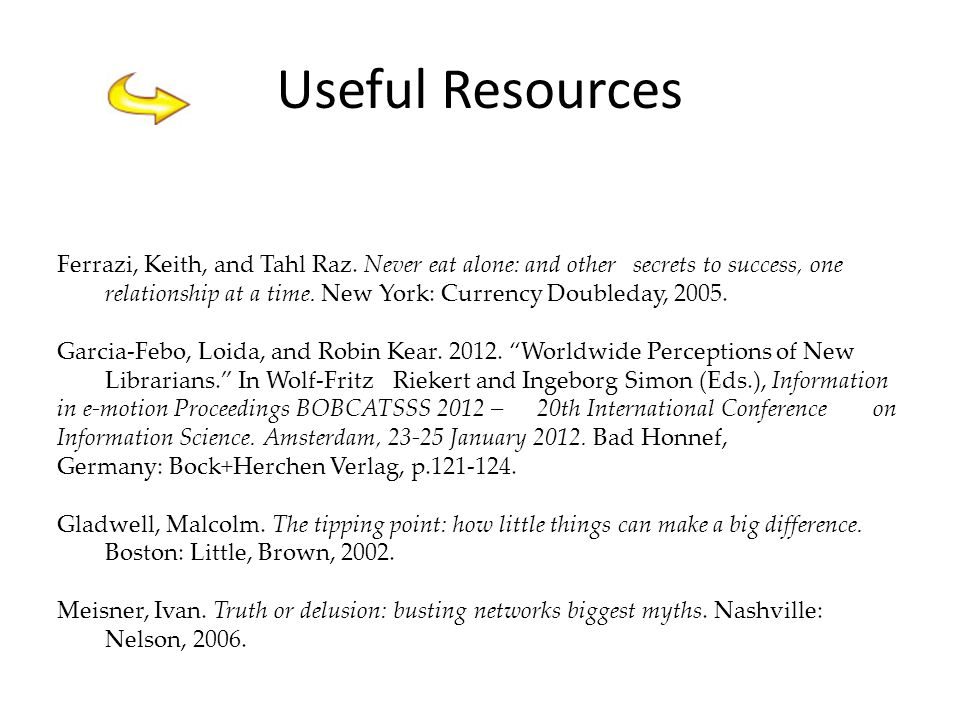 Useful Resources Ferrazi, Keith, and Tahl Raz.