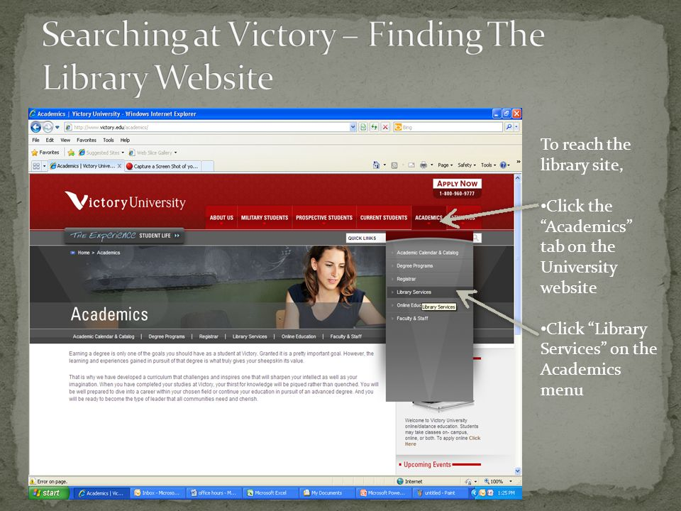 Once you reach the Library's web page, click on the blue link labeled Online Resources