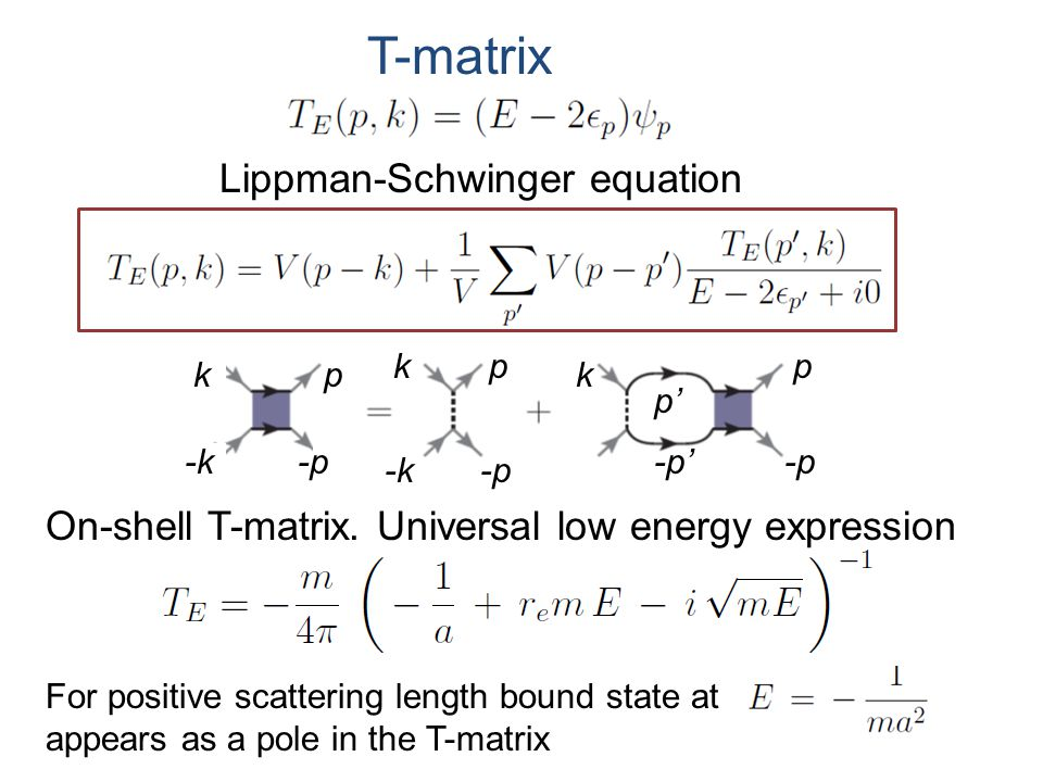 Lippman-Schwinger equation For positive scattering length bound state at appears as a pole in the T-matrix k k -k k -p'-p p pk p p' -p T-matrix On-shell T-matrix.