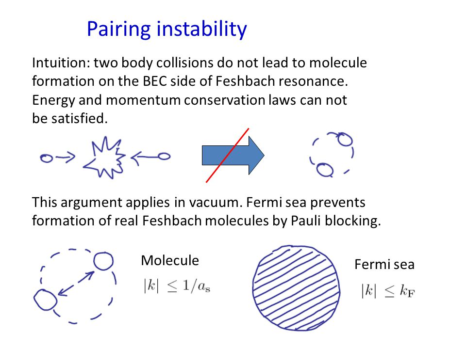 Pairing instability Intuition: two body collisions do not lead to molecule formation on the BEC side of Feshbach resonance.