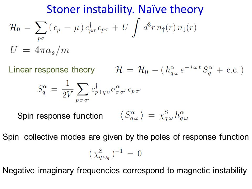 Stoner instability. Naïve theory Linear response theory Spin response function Spin collective modes are given by the poles of response function Negat