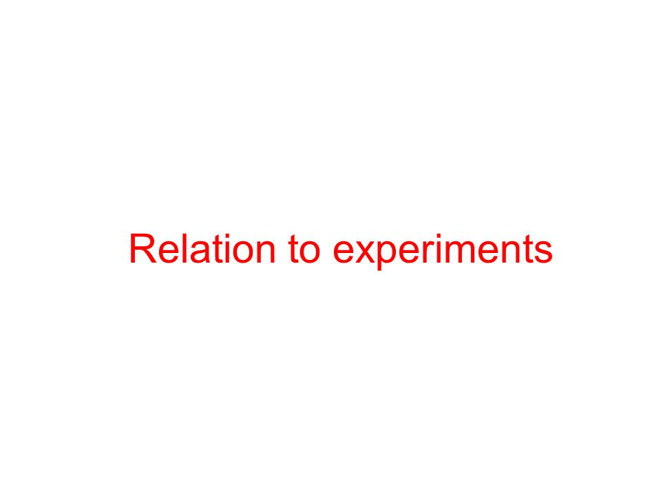Relation to experiments