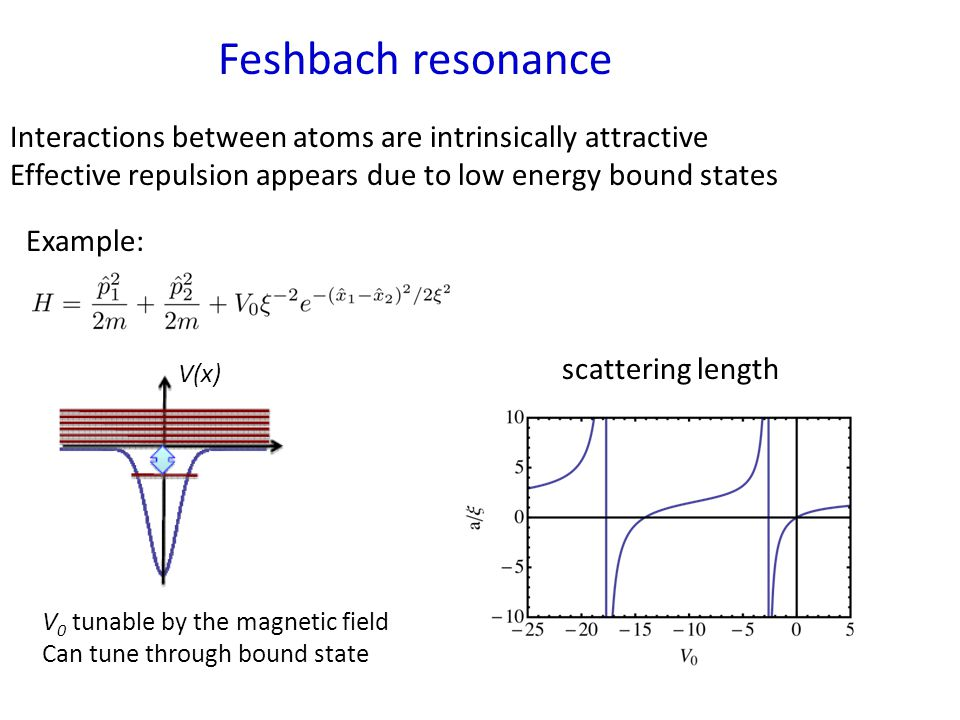 Feshbach resonance Interactions between atoms are intrinsically attractive Effective repulsion appears due to low energy bound states Example: scattering length V(x) V 0 tunable by the magnetic field Can tune through bound state