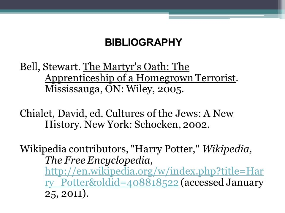 BIBLIOGRAPHY Bell, Stewart. The Martyr's Oath: The Apprenticeship of a Homegrown Terrorist. Mississauga, ON: Wiley, 2005. Chialet, David, ed. Cultures