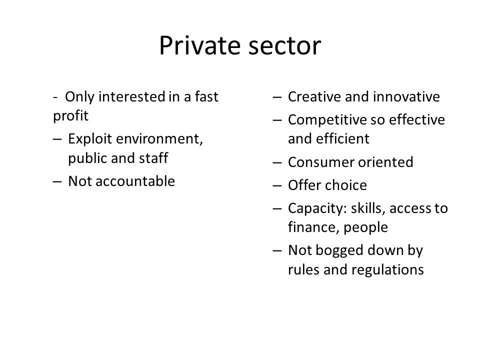 Private sector - Only interested in a fast profit – Exploit environment, public and staff – Not accountable – Creative and innovative – Competitive so effective and efficient – Consumer oriented – Offer choice – Capacity: skills, access to finance, people – Not bogged down by rules and regulations