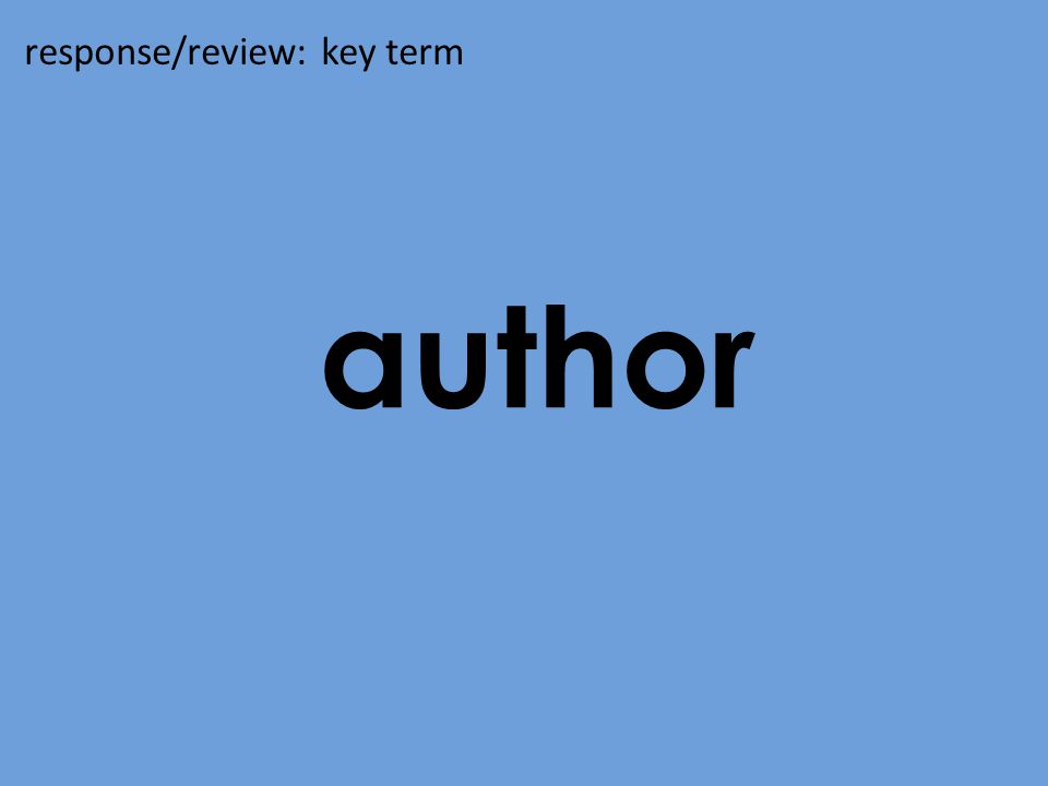 author response/review: key term