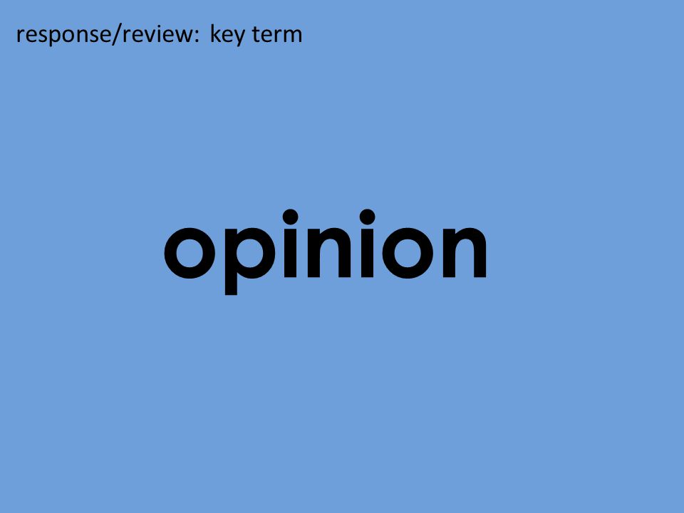 background response/review: key term