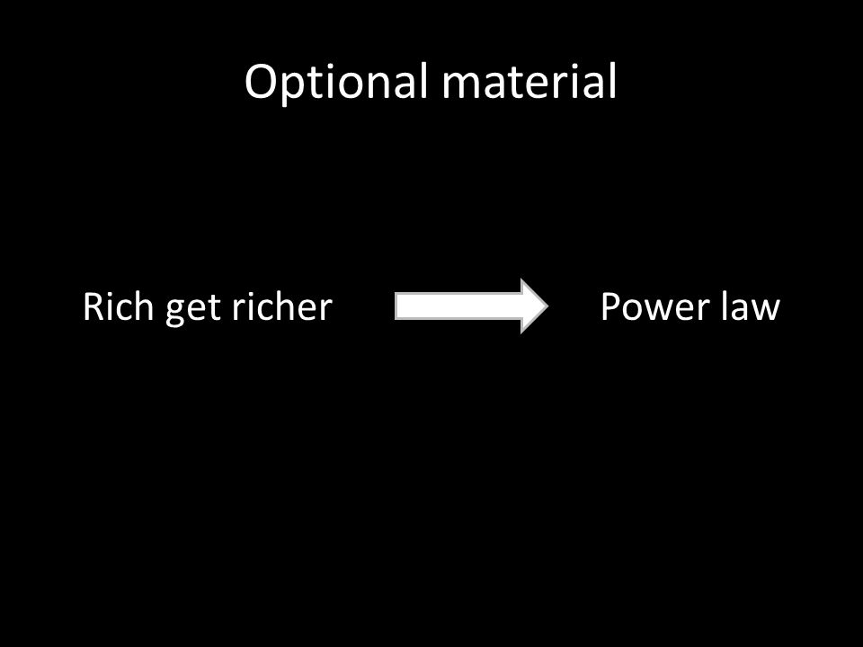 Optional material Rich get richer Power law