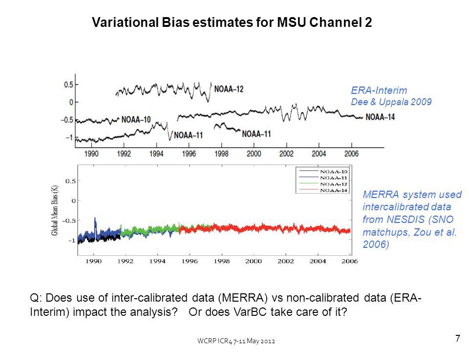 8 Lower Troposphere Lower Stratosphere MERRA, ERA-Interim & MSU (UAH) Global mean temperature anomalies (rel.