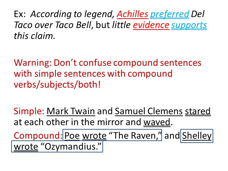Ex: According to legend, Achilles preferred Del Taco over Taco Bell, but little evidence supports this claim. Warning: Don't confuse compound sentence
