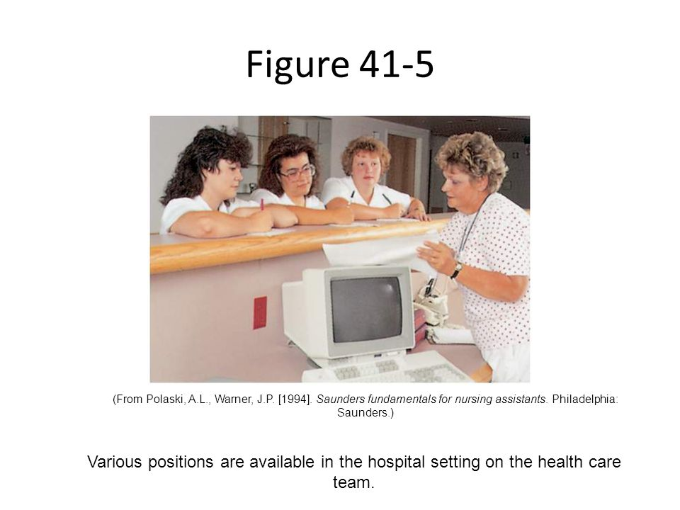 Figure 41-5 Various positions are available in the hospital setting on the health care team. (From Polaski, A.L., Warner, J.P. [1994]. Saunders fundam