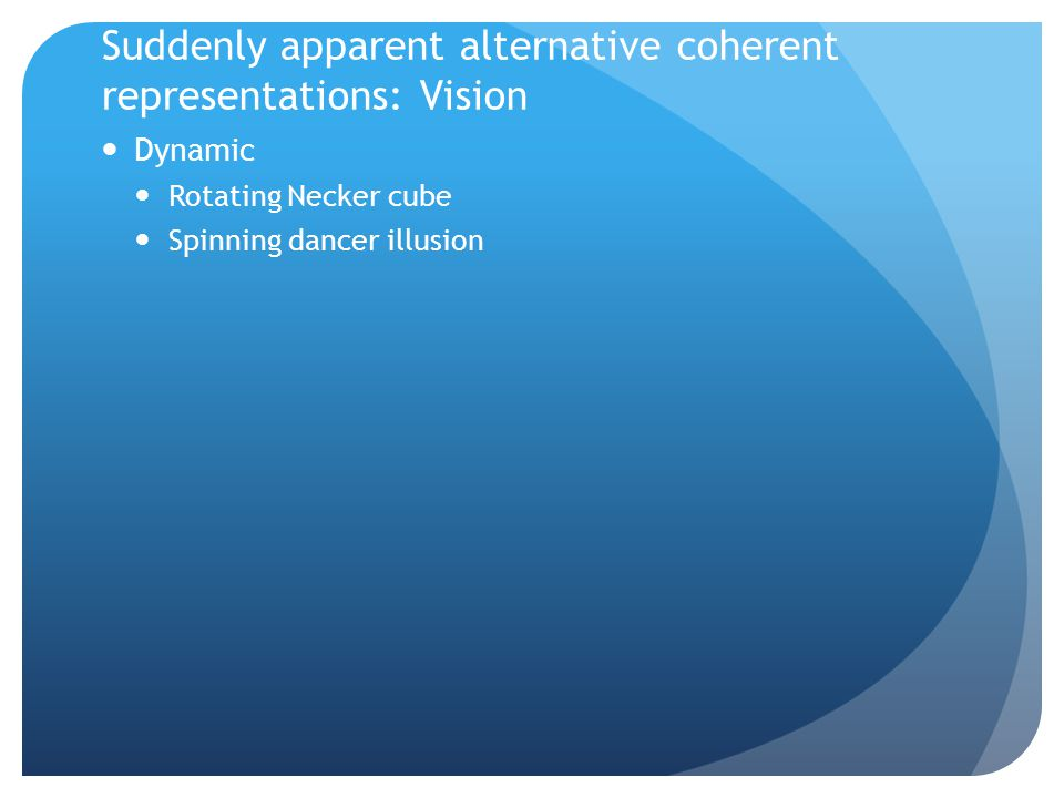 Suddenly apparent alternative coherent representations: Vision Dynamic Rotating Necker cube Spinning dancer illusion