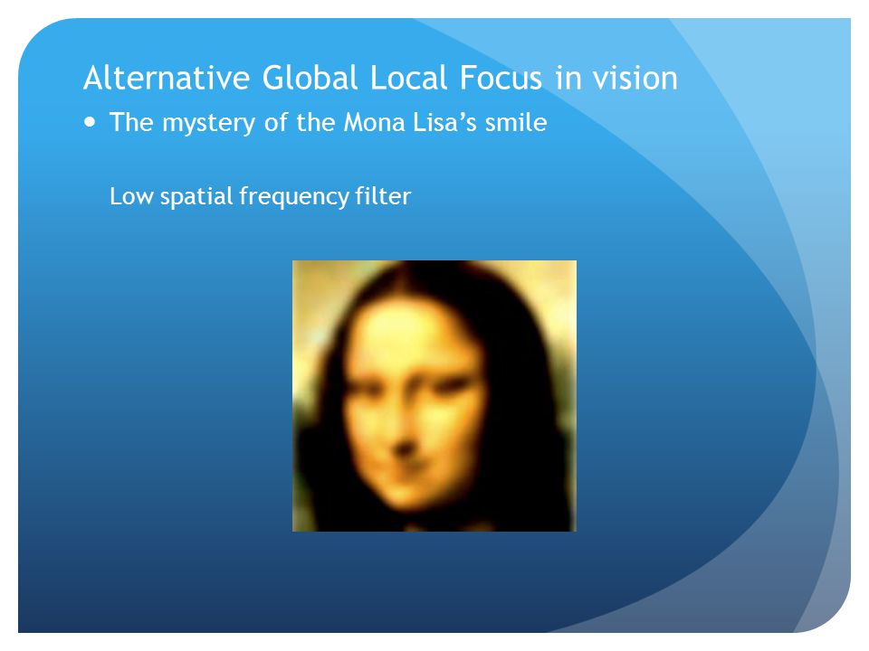 Alternative Global Local Focus in vision The mystery of the Mona Lisa's smile Low spatial frequency filter
