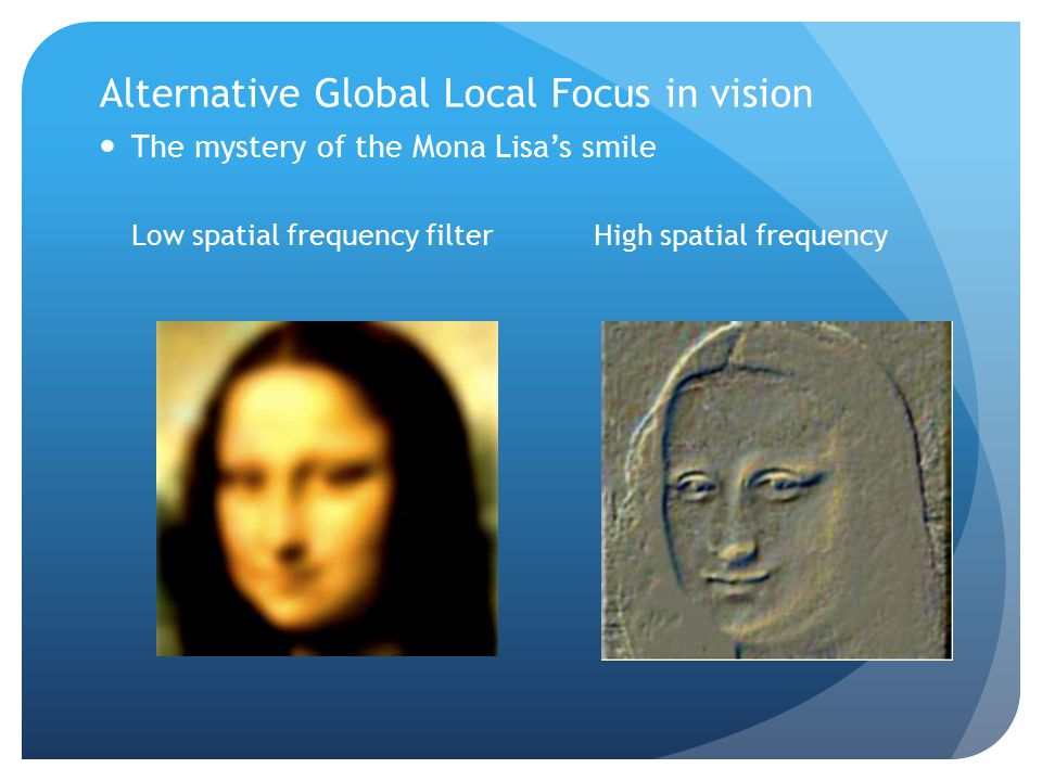 Alternative Global Local Focus in vision The mystery of the Mona Lisa's smile Low spatial frequency filter High spatial frequency