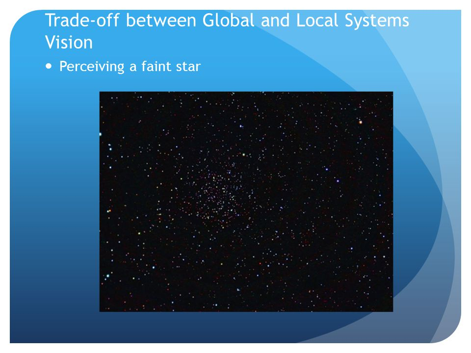 Trade-off between Global and Local Systems Vision Perceiving a faint star
