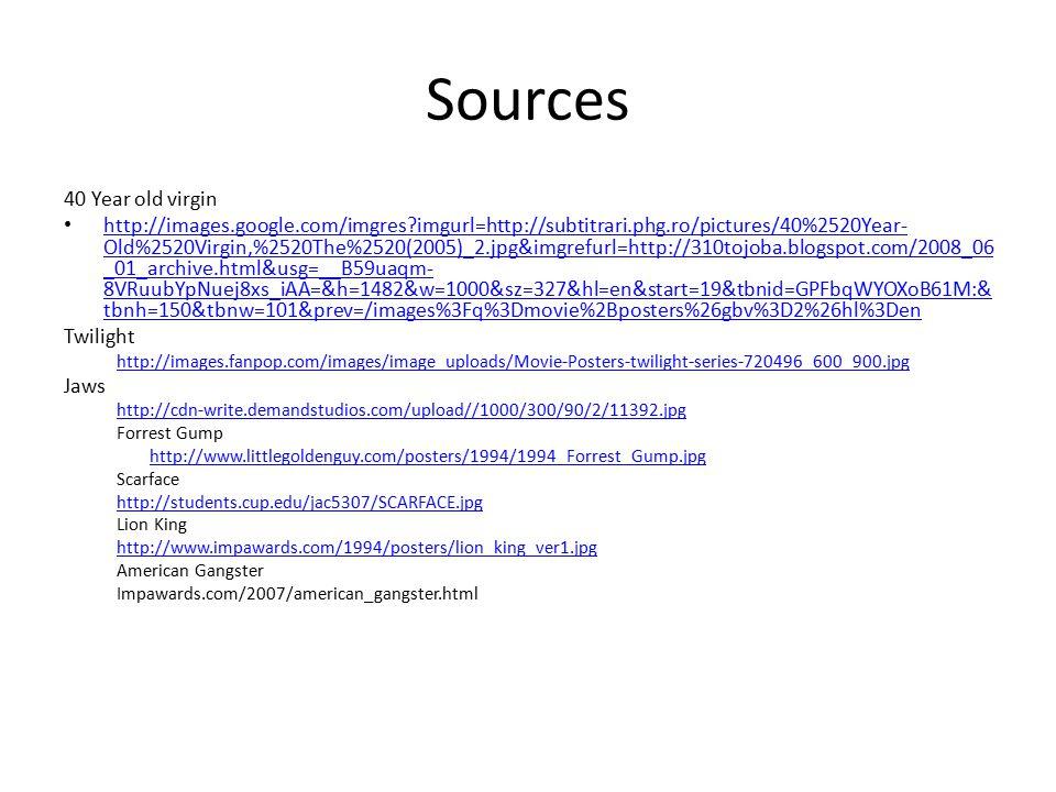 Sources 40 Year old virgin http://images.google.com/imgres imgurl=http://subtitrari.phg.ro/pictures/40%2520Year- Old%2520Virgin,%2520The%2520(2005)_2.jpg&imgrefurl=http://310tojoba.blogspot.com/2008_06 _01_archive.html&usg=__B59uaqm- 8VRuubYpNuej8xs_iAA=&h=1482&w=1000&sz=327&hl=en&start=19&tbnid=GPFbqWYOXoB61M:& tbnh=150&tbnw=101&prev=/images%3Fq%3Dmovie%2Bposters%26gbv%3D2%26hl%3Den http://images.google.com/imgres imgurl=http://subtitrari.phg.ro/pictures/40%2520Year- Old%2520Virgin,%2520The%2520(2005)_2.jpg&imgrefurl=http://310tojoba.blogspot.com/2008_06 _01_archive.html&usg=__B59uaqm- 8VRuubYpNuej8xs_iAA=&h=1482&w=1000&sz=327&hl=en&start=19&tbnid=GPFbqWYOXoB61M:& tbnh=150&tbnw=101&prev=/images%3Fq%3Dmovie%2Bposters%26gbv%3D2%26hl%3Den Twilight http://images.fanpop.com/images/image_uploads/Movie-Posters-twilight-series-720496_600_900.jpg Jaws http://cdn-write.demandstudios.com/upload//1000/300/90/2/11392.jpg Forrest Gump http://www.littlegoldenguy.com/posters/1994/1994_Forrest_Gump.jpg Scarface http://students.cup.edu/jac5307/SCARFACE.jpg Lion King http://www.impawards.com/1994/posters/lion_king_ver1.jpg American Gangster Impawards.com/2007/american_gangster.html