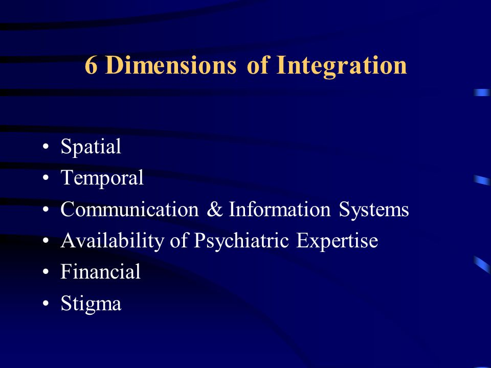 6 Dimensions of Integration Spatial Temporal Communication & Information Systems Availability of Psychiatric Expertise Financial Stigma