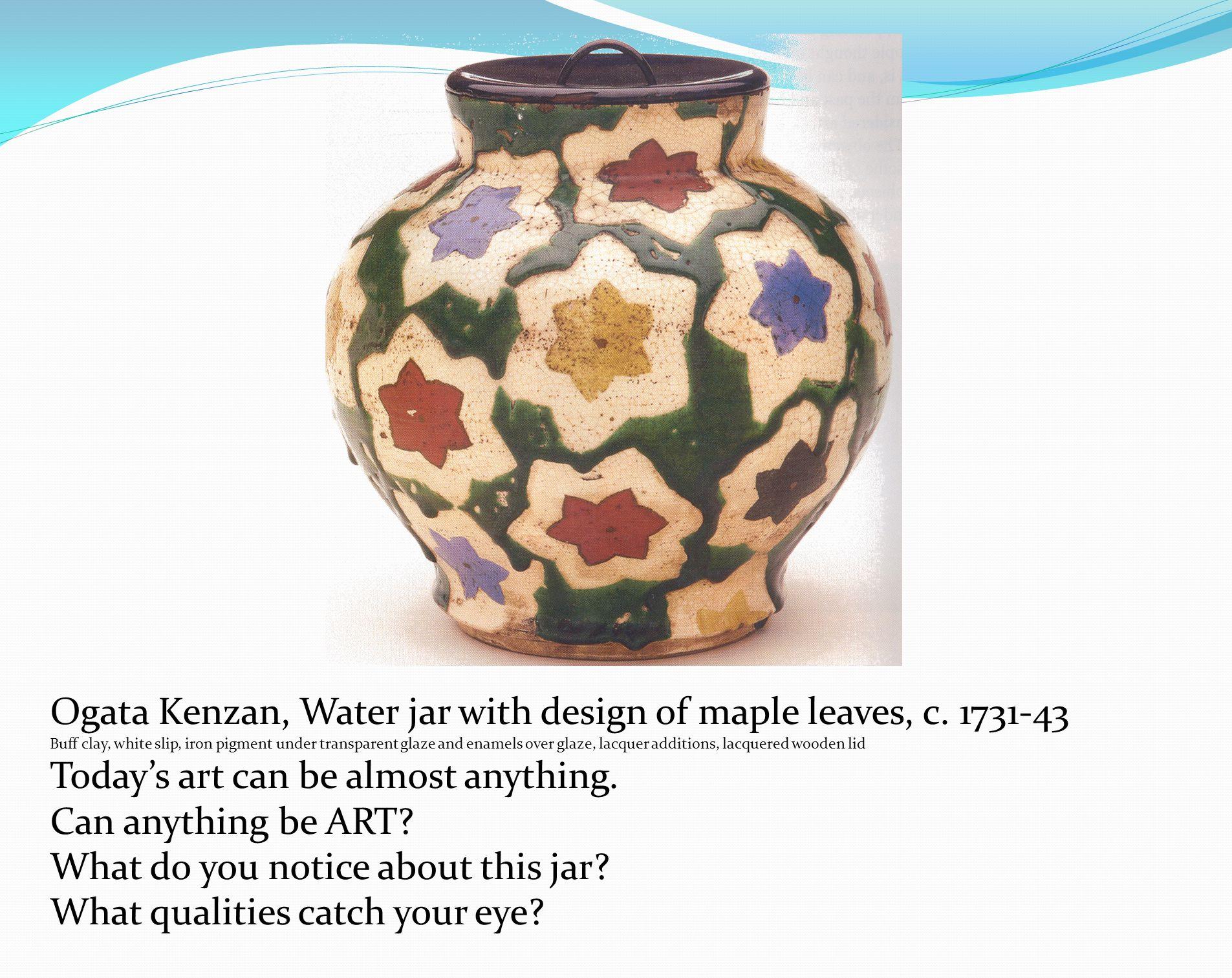 Ogata Kenzan, Water jar with design of maple leaves, c.