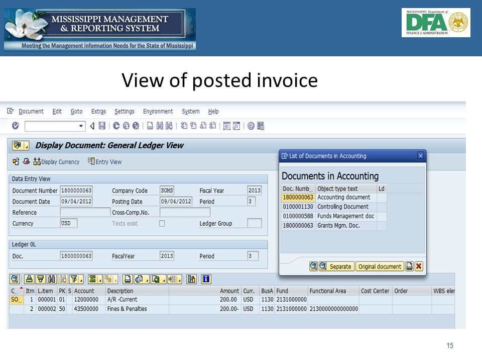 View of posted invoice 15