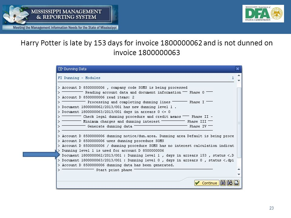 Harry Potter is late by 153 days for invoice 1800000062 and is not dunned on invoice 1800000063 23