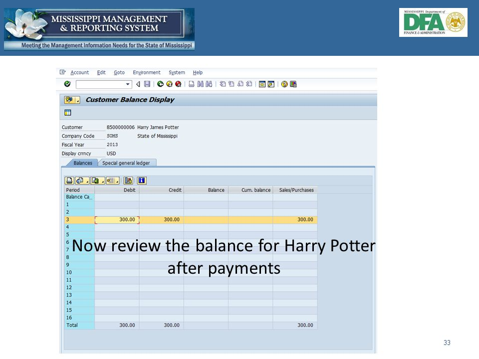 Now review the balance for Harry Potter after payments 33