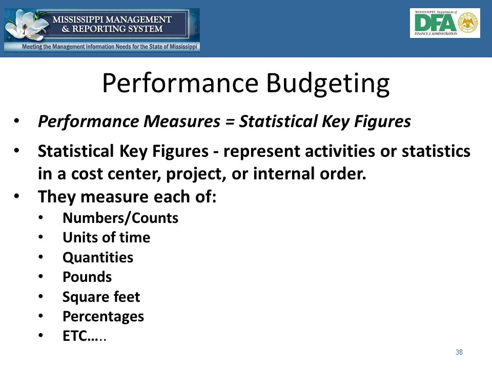 Performance Budgeting 38 Performance Measures = Statistical Key Figures Statistical Key Figures - represent activities or statistics in a cost center, project, or internal order.