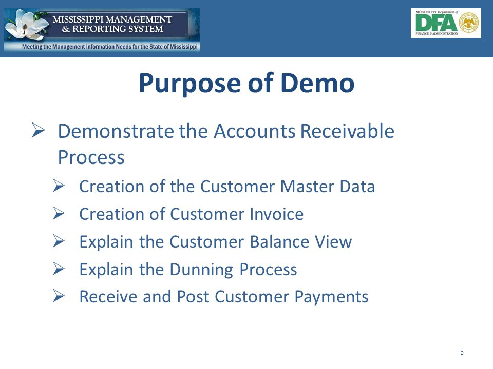  Demonstrate the Accounts Receivable Process  Creation of the Customer Master Data  Creation of Customer Invoice  Explain the Customer Balance View  Explain the Dunning Process  Receive and Post Customer Payments 5 Purpose of Demo