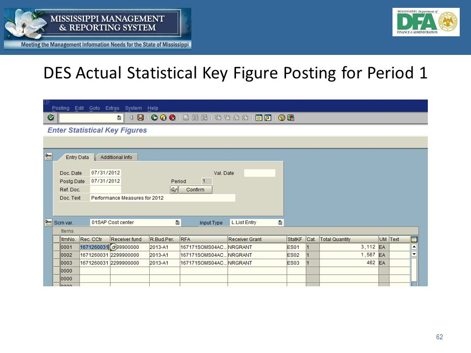 DES Actual Statistical Key Figure Posting for Period 1 62