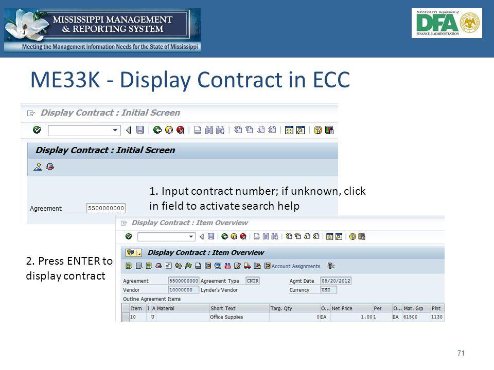 ME33K - Display Contract in ECC 71 1.