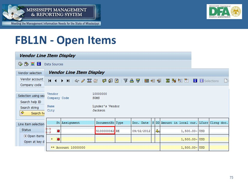 FBL1N - Open Items 75 1.Enter vendor number and company code.