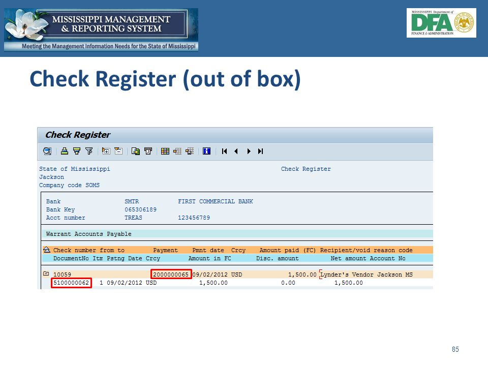 Check Register (out of box) 85