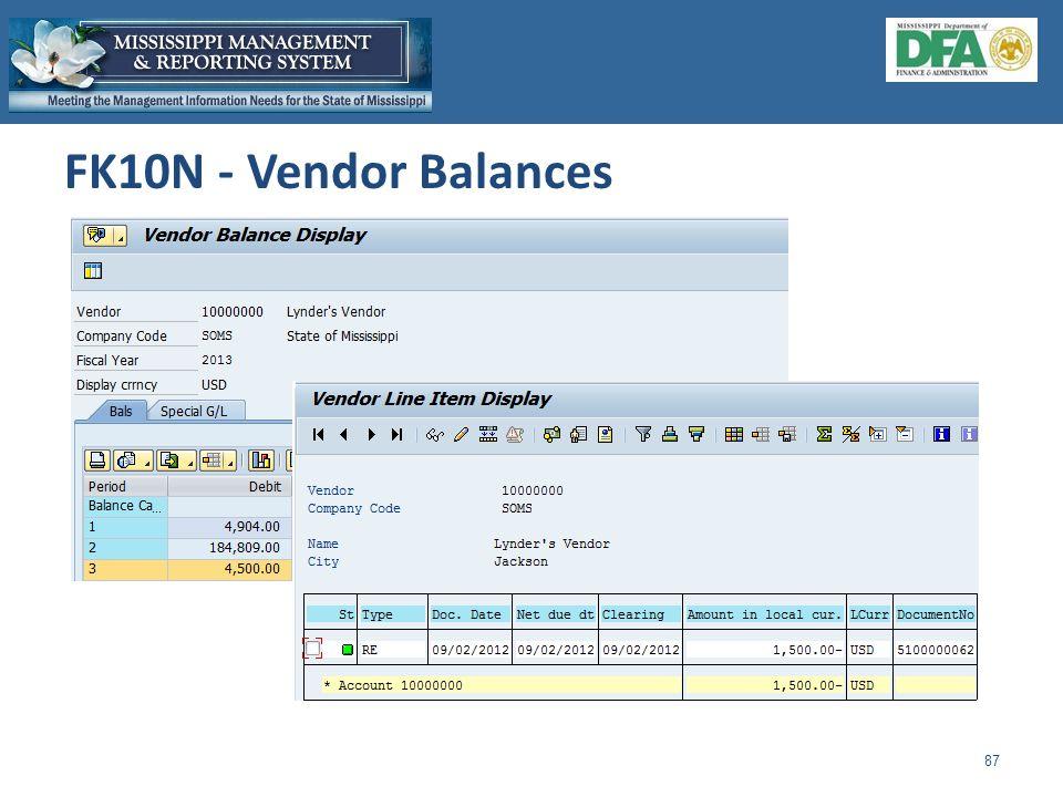 FK10N - Vendor Balances 87
