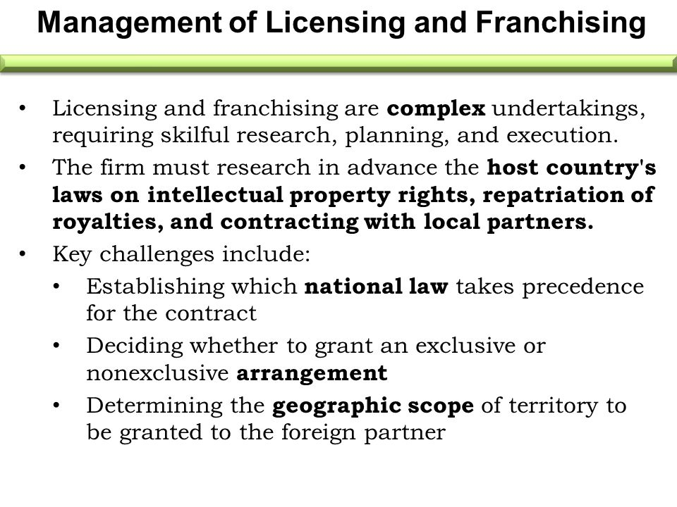 Management of Licensing and Franchising Licensing and franchising are complex undertakings, requiring skilful research, planning, and execution. The f