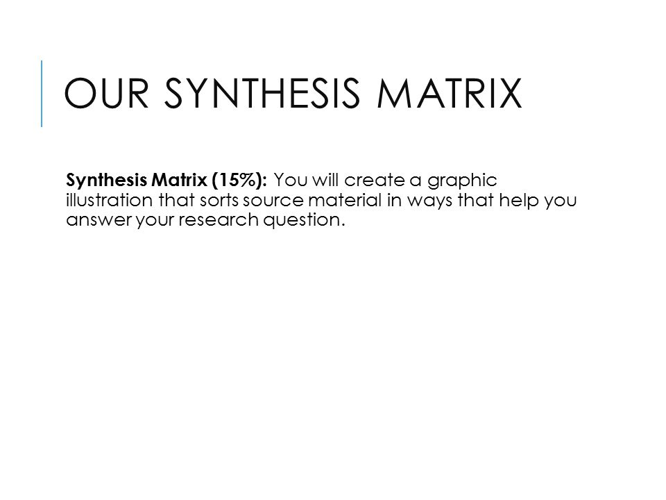 OUR SYNTHESIS MATRIX Synthesis Matrix (15%): You will create a graphic illustration that sorts source material in ways that help you answer your research question.