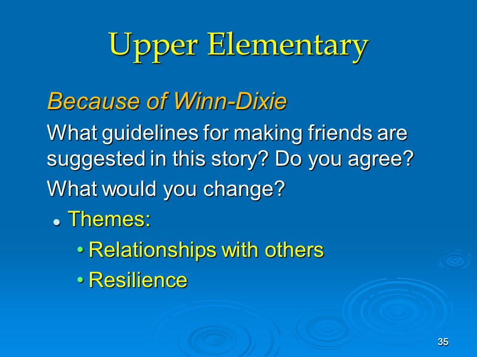 Upper Elementary Because of Winn-Dixie What guidelines for making friends are suggested in this story? Do you agree? What would you change? Themes: Th