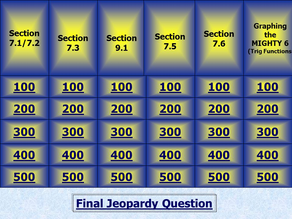 Final Jeopardy Question Section 7.1/7.2 Section 7.3 100 500 400 300 200 100 500 400 300 200 100 500 400 300 200 100 500 400 300 200 100 500 400 300 200 100 500 400 300 200 Section 9.1 Section 7.5 Section 7.6 Graphing the MIGHTY 6 (Trig Functions)