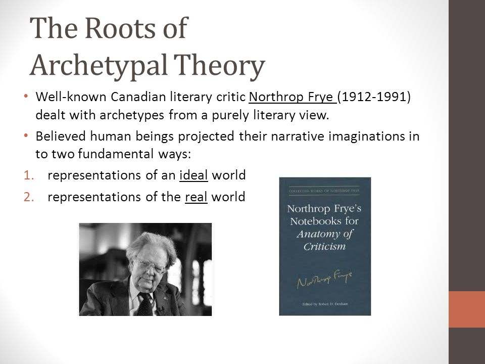 The Roots of Archetypal Theory Well-known Canadian literary critic Northrop Frye (1912-1991) dealt with archetypes from a purely literary view.