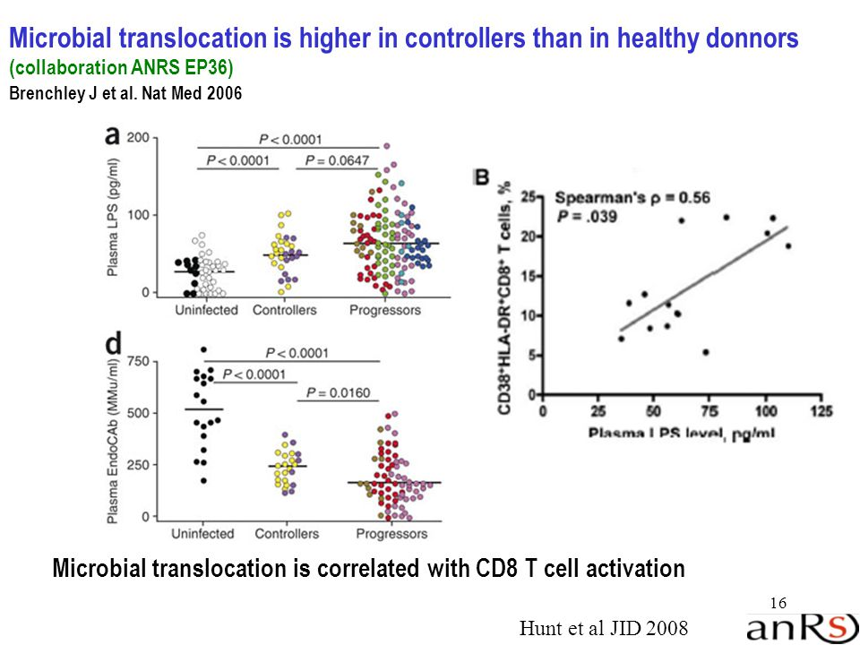 16 Microbial translocation is higher in controllers than in healthy donnors (collaboration ANRS EP36) Brenchley J et al.