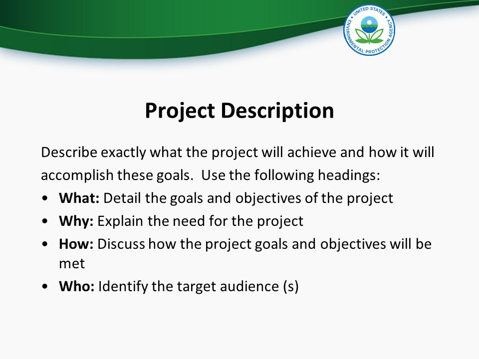 Project Description Describe exactly what the project will achieve and how it will accomplish these goals. Use the following headings: What: Detail th