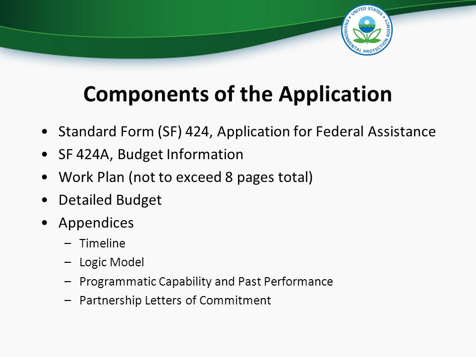 Components of the Application Standard Form (SF) 424, Application for Federal Assistance SF 424A, Budget Information Work Plan (not to exceed 8 pages